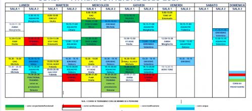 ORARIO CORSI STAGIONE 2016-2017